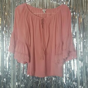 Lucky Brand   Size M Peasant Top 3/4 sleeve